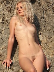 Sexy fit babe Airin lets her hairy pussy breathe out in nature.