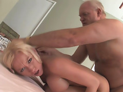 Young whore gives massage and pussy to old guy.